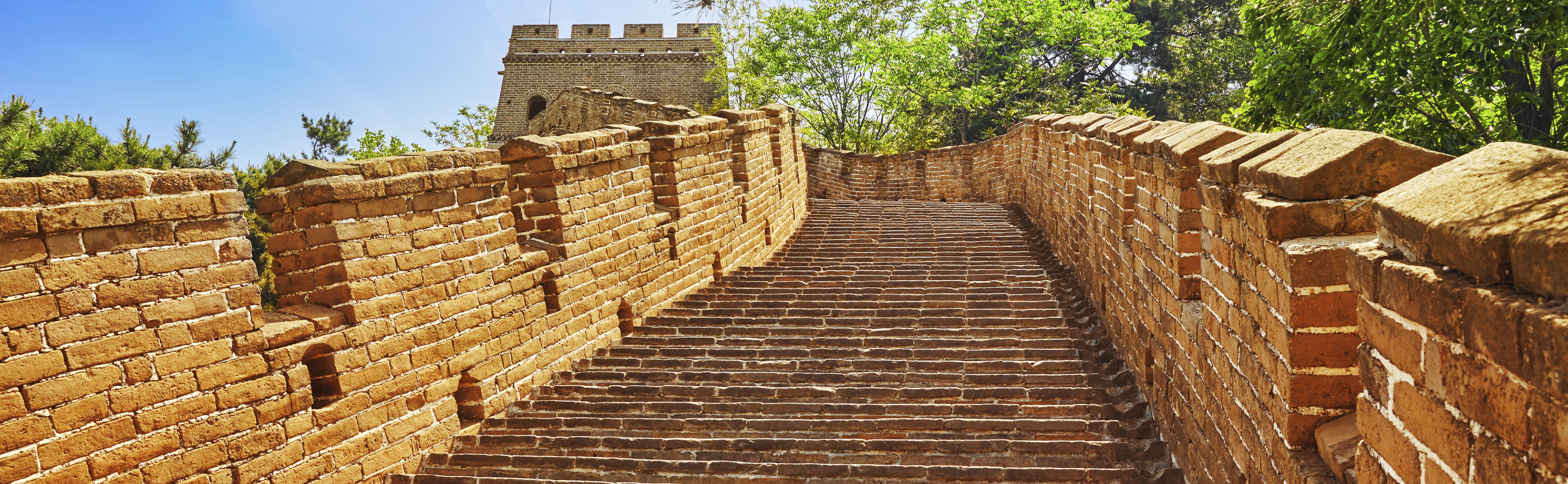 "Stone staircase of Great Wall of China, section ""Mitianyu""."